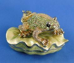 Bejeweled Green Frog Trinket Box at Ruby Lane