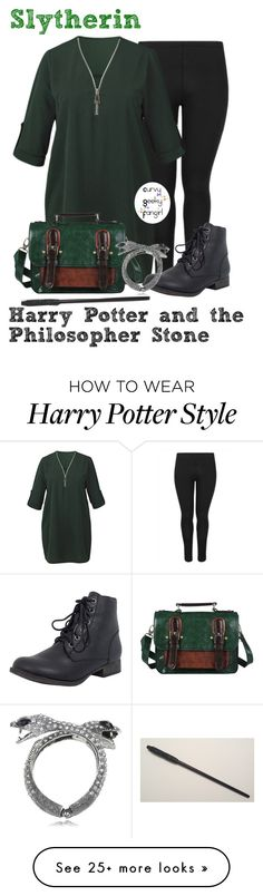 """Harry Potter and the Philospher Stone: Slytherin"" by curvygeekyfangirl on Polyvore featuring AX Paris Curve, Breckelle's and Prinz"