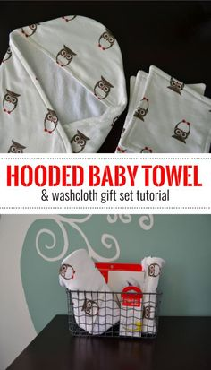 DIY Hooded Baby Towel and Washcloth gift set tutorial- This step-by-step tutorial shows how to make a hooded baby towel and set of washcloths.  It's an easy and practical baby gift. #BetterBottles #ad