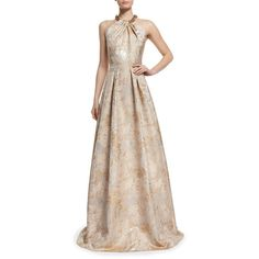 Carmen Marc Valvo Beaded Halter Floral Jacquard Ball Gown ($647) ❤ liked on Polyvore featuring dresses, gowns, champagne, floral halter dress, floral evening gown, floral ball gown, floral dresses and champagne ball gown
