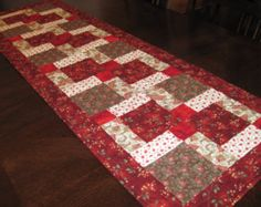Red Table Runner - red, brown, and off-white squares and rectangles