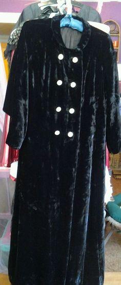 Vintage  GOTHIC Long Black Velvet Maxi Coat sz med 1960, s     chest to 34 #Unbranded #longdoublebrested