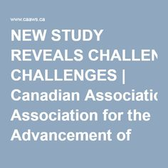 NEW STUDY REVEALS CHALLENGES | Canadian Association for the Advancement of Women and Sport and Physical Activity