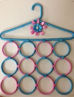 Blue and pink scarf holder