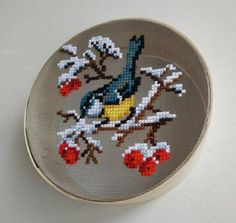 Flour Sieve Colander with decor Wooden Strainer Decorated image 1 Small Cross Stitch, Cute Cross Stitch, Cross Stitch Bird, Cross Stitch Flowers, Cross Stitching, Diy Embroidery Designs, Embroidery Art, Cross Stitch Embroidery, Cross Stitch Patterns