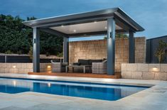 Outdoor Living Room Design There is Also a Swimming Pool - JustHomeIdeas House, Pool Shade, Outdoor Remodel, Pool Houses, Outdoor Living Areas, Outdoor Curtains For Patio, Outdoor Glider, Outdoor Kitchen