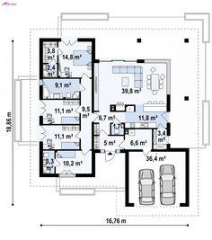 Projekt Z378. Z378 to propozycja współczesnego domu parterowego z dachem wielospadowym i garażem dwustan...