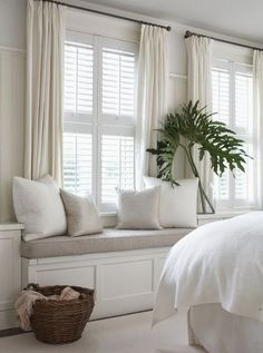 Do I add curtains in living room window seat area? Combining plantation shutters with curtains privacy coziness warmth (for Grayson's room) Cottage Living, Home And Living, Cozy Living, Modern Living, Shutters With Curtains, White Curtains, White Shutters, Linen Curtains, Indoor Shutters