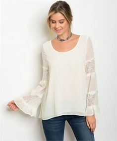 White scoop neck chiffon top with long bell sleeves and lace