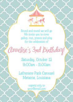 Rainbow Carousel Party Invitation Cute Colorful Pinterest