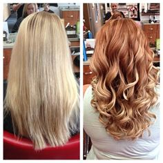 20 Pictures Before / After For Women Having Chosen To Color Their Hair Hair Color Ideas Red To Blonde, Blonde Layers, Red Hair To Blonde Before And After, Fall Blonde, Red Hair With Blonde Tips, Ginger Blonde Hair, Auburn Blonde Hair, Reddish Blonde Hair, Copper Blonde Hair