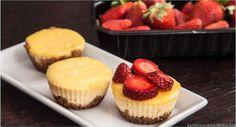 Kleine New York Cheesecakes mit Erdbeeren