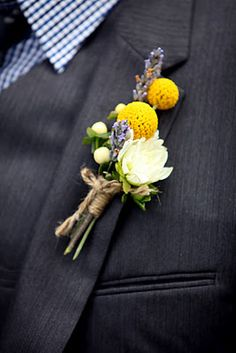 bouts for the boys. Lavendar, billy buttons, and small rose or something similar. Tie with some rustic twine or string...