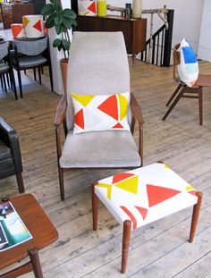 Tamasyn Gambell X Førest London Collaboration Spring 2015 Mid Century Furniture, Spring 2015, Collaboration, Scandinavian, Dining Chairs, London, The Originals, Fabric, Home Decor