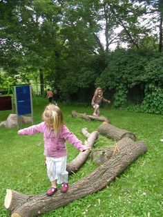 Who needs expensive balance beams? Reggio outdoor playscape. Parents just don't understand. I kept bring asked when I wad going to clean up the yard :/