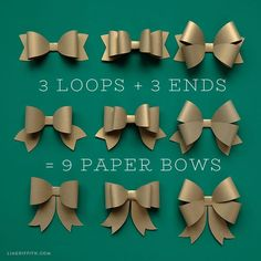 Mix Create a beautiful variety of paper bows with our printable templates and your favorite metallic papers. Browse all of our gift wrap DIYs to impress! Creative Gift Wrapping, Creative Gifts, Bow Template, Printable Templates, Printable Paper, Free Printable, Wrapping Paper Bows, Paper Ribbon Bows, Wrapping Gifts