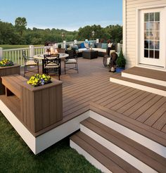 The perfect patio for hosting get-togethers and family parties. This person decided to build the patio themselves using hardwood. Certain woods do better for patios than others. Outside Living, Outdoor Living, Deck Colors, Backyard Renovations, Composite Decking, Trex Decking, Outdoor Spaces, Outdoor Decor, Outdoor Photos
