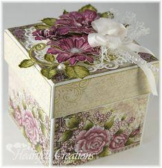 Gift Box Kathy Roney – Joyfully Made Designs: Majestic Blooms Box – Heartfelt Creations -… Altered Boxes, Altered Art, Organizer Box, Exploding Box Card, Heartfelt Creations Cards, Memories Box, Shaped Cards, Pretty Box, Craft Box
