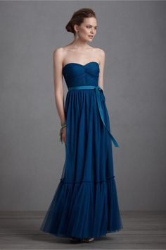 elegant navy blue bridesmaid dress long gown BHLDN