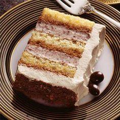 "Tiramisu torte recipe using all the the flavors of this popular dessert. ""Tira-mi-su"" is Italian for ""pick me up."""