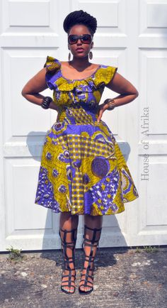 Balma dress in green purple and mustard hues by HouseofAfrika African Dresses For Women, African Print Dresses, African Print Fashion, Africa Fashion, African Attire, African Wear, African Fashion Dresses, African Women, Fashion Outfits
