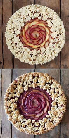 Delicious Desserts, Dessert Recipes, Yummy Food, Creative Cakes, Creative Food, Beautiful Pie Crusts, Pie Crust Designs, Pie Decoration, Pies Art