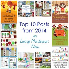 Top 10 posts from 2014 on Living Montessori Now along with links to top-10 posts from previous years