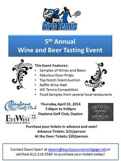 Equity Source Mortgage, Inc. supports the Rogers Girls Tennis Program.  Today is the day for the Rogers Girls Tennis Wine and Beer Tasting Fundraiser!  Advance tickets still available.  Call them...
