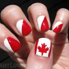 Alternately, go for the split with dual-personality nails | Community Post: 30 Canadatastic DIY-Able Manicures For Canada Day