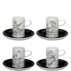 Fado  by Vista Alegre. Fine Porcelain Cup and Saucer Set of 4 - Only $106.95 for the set