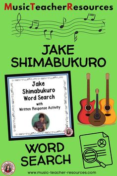Get to know more about Jake Shimabukuro with this word search activity from Music Teacher Resources. It has a research/written activity based on the words hidden the word search. Your students are not merely finding words in the word search - they are also learning about him by researching what these words had to do with his music and life. No prep, just print and go! ♫ ♫ #musiceducation #mtr