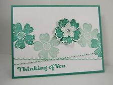 Stampin Up! THINKING OF YOU Flower Shop Emerald Envy Card Kit - Set of 4 Cards