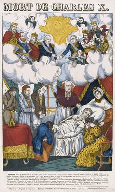 Allegory of the death of Charles X surrounded by his grieving family (the duchesse d'Angouleme at his head) and his Bourbon predecessors waiting to welcome him to heaven, 1836 Bourbon, Charles X, Dead King, French History, Louis Xiv, King Queen, Emperor, Alter, Les Oeuvres