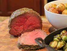 How to Cook a perfect Roast Beef in your Wolf Oven!   Ingredients: 4 pound top round roast- steak side ½ cup garlic cloves ½ cup rosemary ¼ cup thyme 1/3 cup sage ½ cup whole foods three cheese blend ¼ cup parmesan cheese ½ cup olive oil   Instructions: Throw all of the marinade ingr...