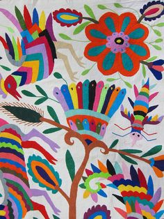 Mexican patterns - Otomi fabric and textiles for home decoration by Mexico Culture, Embroidery Keka❤❤❤ Mexican Embroidery, Folk Embroidery, Paper Embroidery, Embroidery Patterns, Motifs Textiles, Textile Patterns, Textile Design, Textile Art, Mexican Fabric