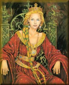 "Reine Guenièvre - Queen Guinevere: The name come from the Welsh ""Gwenhywhar"" which means ""white ghost. Norse Goddess, Celtic Mythology, Goddess Symbols, Norse Pagan, Roi Arthur, King Arthur, Vikings, Morgana Le Fay, Mists Of Avalon"