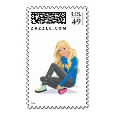 Barbie Sitting in her Blue Sweater Stamps