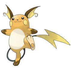 Raichu - 026 - When its electricity builds, its muscles are stimulated, and it becomes more aggressive than usual. It can loose 100,000-volt bursts of electricity, instantly downing foes several times its size.  @PokeMasters.net