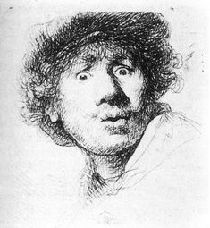 Rembrandt Self-Portrait 1629 | Rembrandt, Self-Portrait in a Cap, Open-Mouthed , 1630, etching.