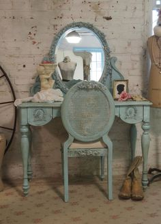 Painted Cottage Shabby Romantic Vanity by paintedcottages on Etsy, $665.00