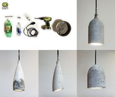 HomeMade Modern DIY Concrete Pendant Lamp: Designer lighting can be quite pricey. You can make yourself an entire set of stylish concrete pendant lights with a single bag of concrete mix and some old plastic bottles. Pendant Lamp, Pendant Lighting, Homemade Modern, Diys, Diy Crafts, Ceiling Lights, Inspiration, Diy Ideas, Craft Ideas