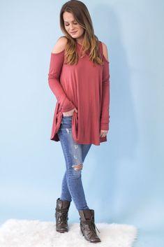 Demi Open Sleeve Tunic- Mauve-[product_description]-[product_tag]-Stella B. Clothing