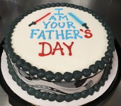 Star Wars Father's Day DQ ice cream cake made with edible image storm trooper strips on the sides