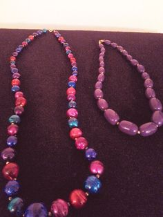 Lot of 2 Beaded Retro Necklaces Vintage by DivaSellerBoutique