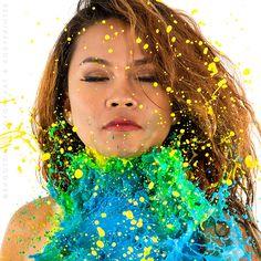 Model: Isla Modello Mua: Tong Ecat Paint thrown by Esther Bodypaint model and Christiaan Hofland Photo: Shooten.nl