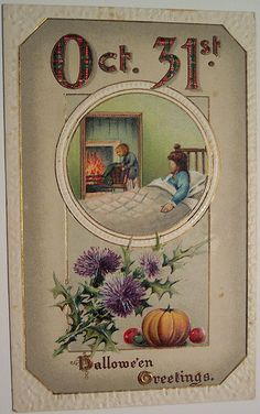 Thistle Scottish themed Vintage Halloween Postcard. #thistles