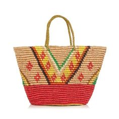 Sensi Studio Geometric woven toquilla-straw tote (15,885 INR) ❤ liked on Polyvore featuring bags, handbags, tote bags, multi, beige purse, woven tote, red tote handbags, red purse and straw tote