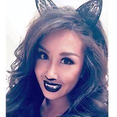 "Perfect winged style in ""SEDUCER"" #KillerKitty Meeeeoww......  @jollai    #monsters #minklashes #pumpkins #costumes #Hallowkitty #beautiful #creepy #fashion #makeup #beauty #pretty #vampirefangs #style #kitty #cosmetics #glam #lipstick #glitter #foundation #eyeliner #fall #lash #black #glam #eyeliner #scary #Halloween"