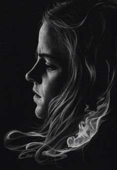 Just white pencil on black paper.