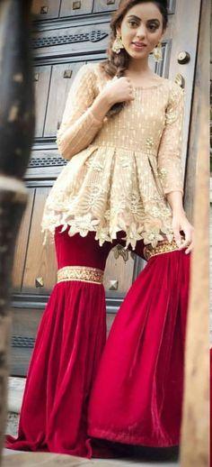 Ideas Dress Wedding Hippie Fashion For 2019 Simple Pakistani Dresses, Pakistani Wedding Outfits, Pakistani Dress Design, Dress Indian Style, Indian Dresses, Indian Outfits, Frock Fashion, Fashion Dresses, Gharara Designs